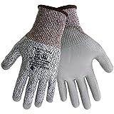 Global Glove PUG111 Grey PU on HDPE Gloves Cut Resistant, (12 Pack)