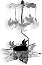 BANBERRY DESIGNS Spinning Candle - Rotating Silver Tea Light Candle Holder - Flying Dove Charms Spins Around the Star Shaped Base - Tealight Candle Included