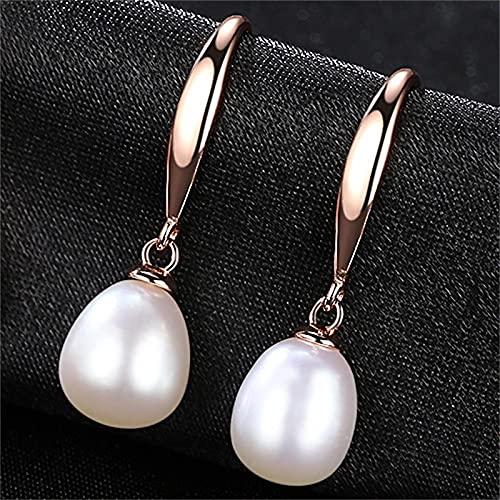 yuge Pendientes de plata 925 para mujer, con perlas de boda, color rosa, blanco, morado, oro de moda, regalo de fiesta blanco