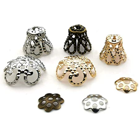 Gold Spacer Cap 2Colors 300pcs 7 Sized Flower-Shaped Spacer Bead Cap Jewelry Making Findings Metal Accessories