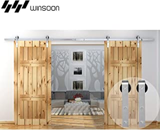 WINSOON Modern Classic Indoor 304 Stainless Steel Double Sliding Door Tracks Roller Barn Door Hardware Closet Kit (10FT / Double Door Kit)