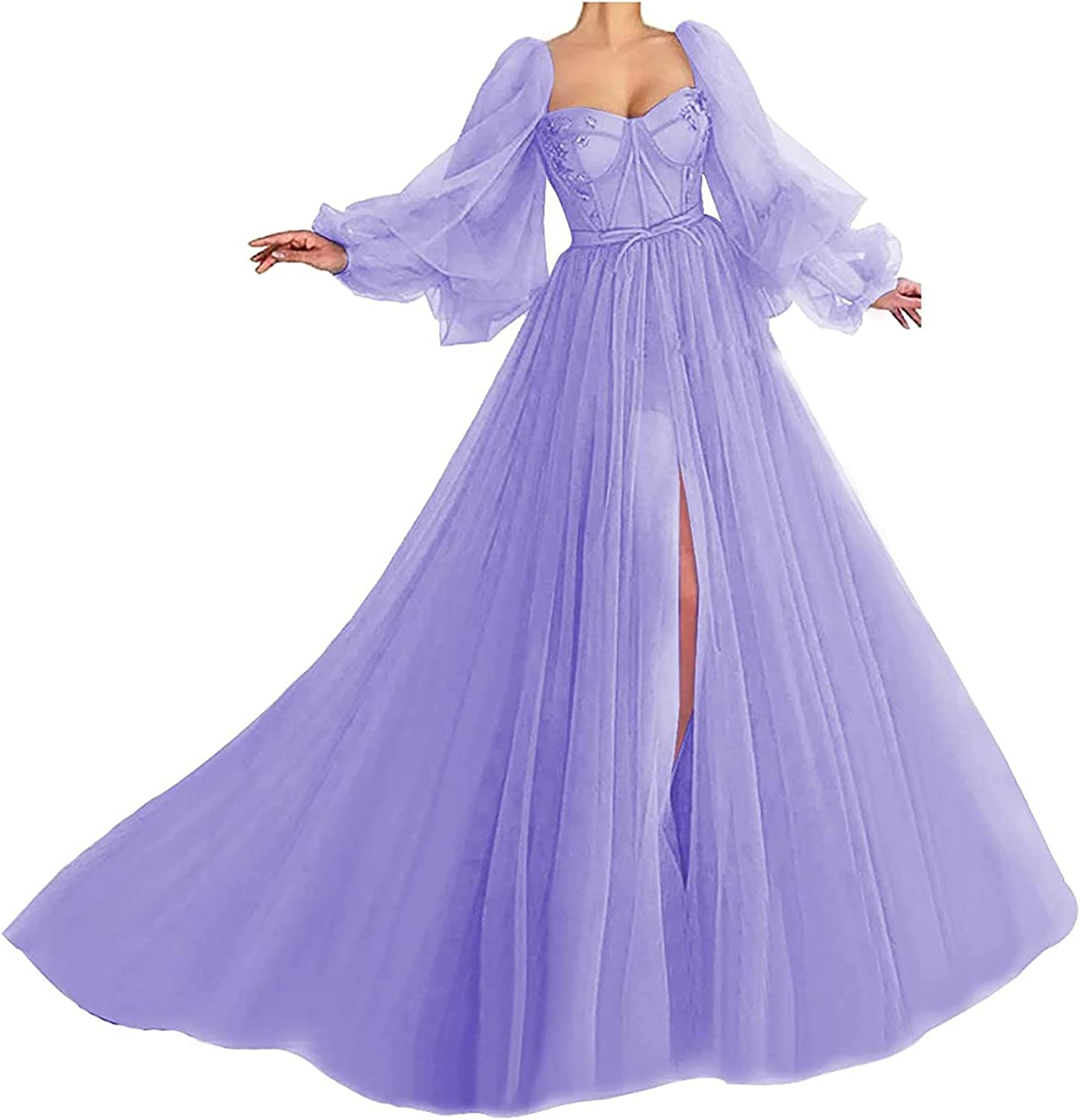 Tianzhihe Women's Vintage Prom Dress Long Puffy Sleeve Tulle Evening Gown Formal Bridal Dresses for Wedding