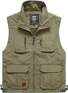 Vest Men's Outdoor Quick-Drying vest Men's Multi-Pocket Fishing vest Loose vest (Color : Khaki, Size : XXL)