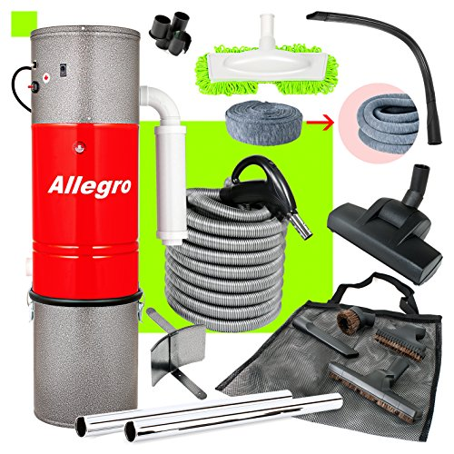 Allegro Central Vacuum System 3,000 sq. ft. Home, 30' Hose Kit and Cleaning Accessories