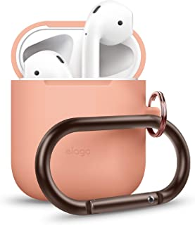 elago AirPods Hang Case [Peach] - [Extra Protection] [Added Carabiner] - for AirPods Case