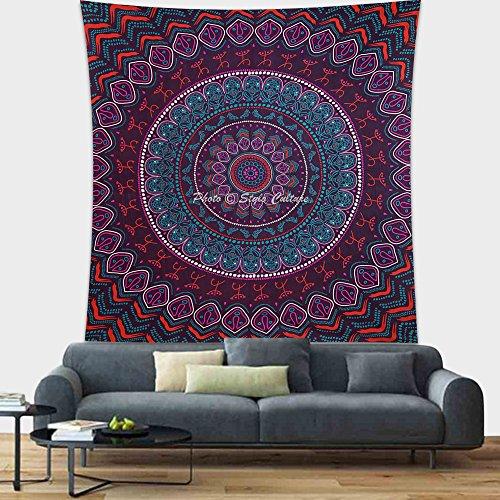 Stylo Culture Mandala Indien Tapisserie Tenture Murale Tribal Wall Decor Violet Suspendu Pique-Nique Jet Double Tapisserie Murale Tapisserie Boho