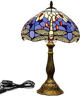 QGL-HQ Style Tiffany Lampes de Table 12 Pouces Stained Libellule en Verre Lampe Bleu et Blanc élégant Handcrafted Lampe de...