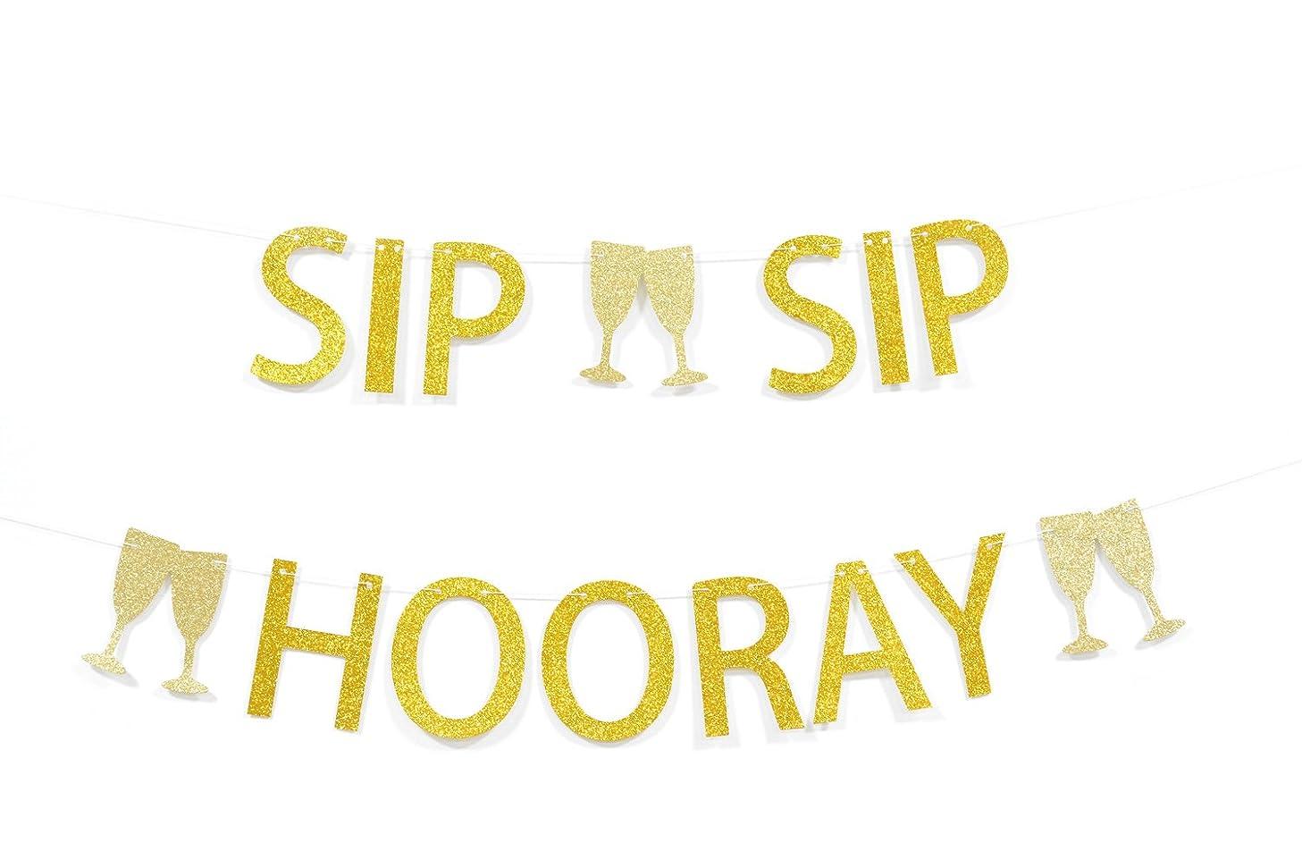 Sip Sip Hooray Gold Glitter Banner for Birthday Graduation Wedding Retirement Party Decorations
