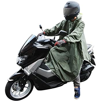 CarOver 【フリーサイズ】 極厚 袖付き レインポンチョ メンズ レディース バイク 自転車 原付 スクーター フリーサイズ レインコート レインウェア レインスーツ 雨ガッパ 通勤 通学 CO-RAIN-PONCHO-GR