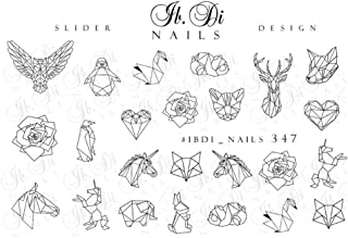 IBDI Geometric animal nail decals, Sliders for manicure or pedicure, Decal for nails, Slider for manicures and pedicures, Nail art, Creates stunning look