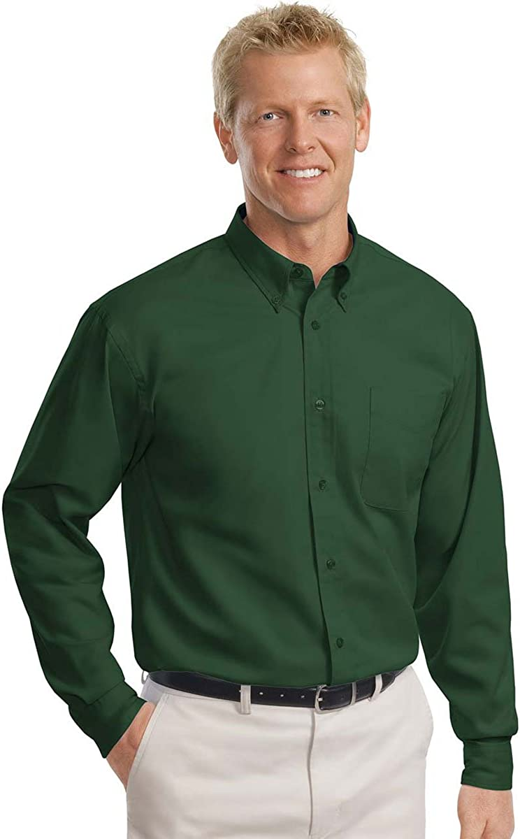 Port Authority - Tall Long Sleeve Easy Care Shirt-3XLT (Dark Green/Navy)