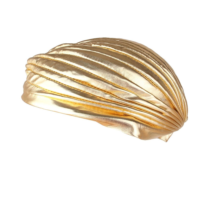 【ノーブランド品】アラブ風 インド風 ユニセックス ポリエステル製 ターバン帽 プリーツキャップ (ゴールド)