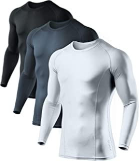 Men's Cool Dry Fit Long Sleeve Compression Shirts, Active Sports Base Layer T-Shirt,..