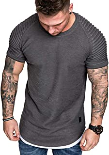 Fashion Men's Summer Pleats Slim Fit Raglan Top Solid Plus Size Short Sleeve Casual Pattern Tops Blouse