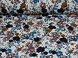 Sweatstoff Jette, Ökotex 100, Blumen, weiß (25cm x 150cm)