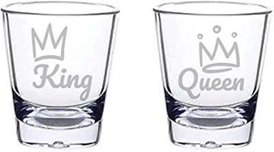 Alankathy Mugs King Queen His Hers Wifey Hubby husband Wife shot glass 1.5 oz set of 2 for anniversary wedding celebration