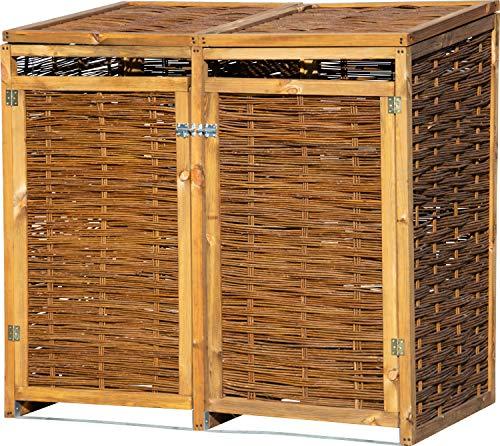 dobar Wetterfeste Doppel Box aus Holz, aufklappbares Mülltonnen-Versteck für Zwei 240l Tonnen, ungeschälte Weide, braun, 137 x 83 x 132cm Mülltonnenbox