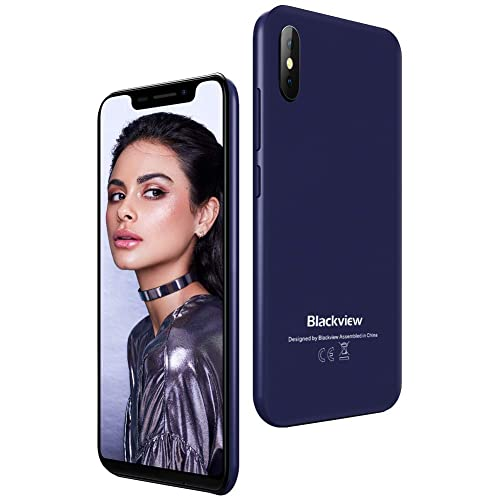 Phones, Blackview A30 SIM-Free Smartphone Unlocked, Android 8.1 Oreo 5.5-Inch with 2GB RAM and 16GB ROM, Dual SIM Mobile Phones 3G, Face Unlock, UK Version - Blue