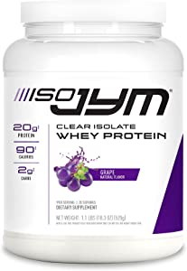 JYM Supplement Science Iso Jym, 90 Calories, 100% Whey Protein Isolate, Zero Fat, Zero Sugars, Mixes Clear, for Women & Men, Grape, 20 Servings