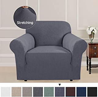 1-Piece Skid Resistance Sofa Cover Furniture Protector Jacquard Spandex Couch Covers, Fitted Sofa Protector Stretch Knitted Jacquard Sofa Slipcovers (1 Seater Chair, Gray)