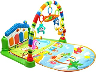 Toyvian Baby Play Gym Activity Mat Kick and Play Piano with Music and Lights (Green)