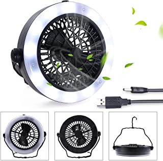 KEIMIX Camping Fan with Lights, USB Powered or Battery Operated, The Best Camping Equipment for Truck Tent, Fishing, Emergencies, Hurricanes, Outages