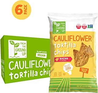 REAL FOOD FROM THE GROUND UP Cauliflower Tortilla Chips - 6Count, 4.5 Oz Bags (Nacho)
