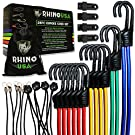 RHINO USA Bungee Cords with Hooks - Heavy Duty 28pc Assortment with 4 Free Tarp Clips, Drawstring Organizer Bag, Canopy Ties & Ball Bungees - Unlimited