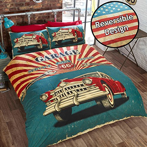 Rapport Retro Car Single Duvet Cover and 1 Pillowcase Set Bedding Bedlinen, Cotton and Polyester, Multicoloured