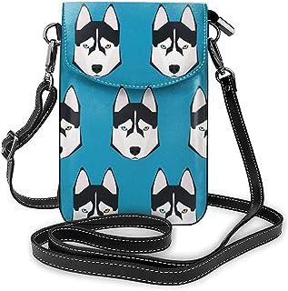 Siberian Husky Bule Background Monedero del Monedero del teléfono Celular para Mujeres Compras Viajes Pequeño Bolso Bandolera