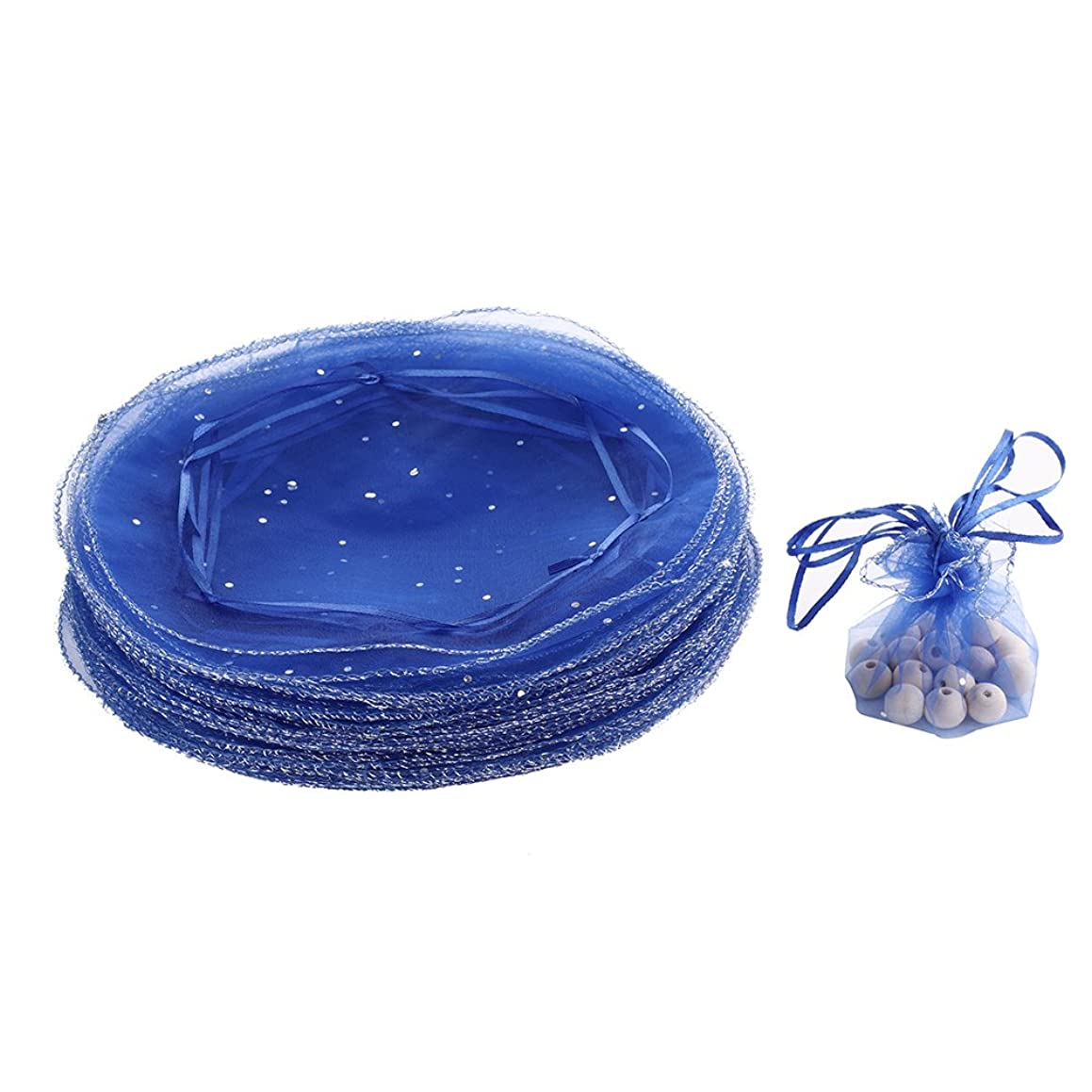 Dealglad 100pcs 25cm Round Drawstring Organza Jewelry Candy Pouch Christmas Wedding Party Favor Gift Packaging Bags (Royal Blue)