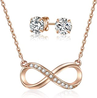 Mestige Rose Gold Infinity Necklace and Earring Set with Swarovski Crystals