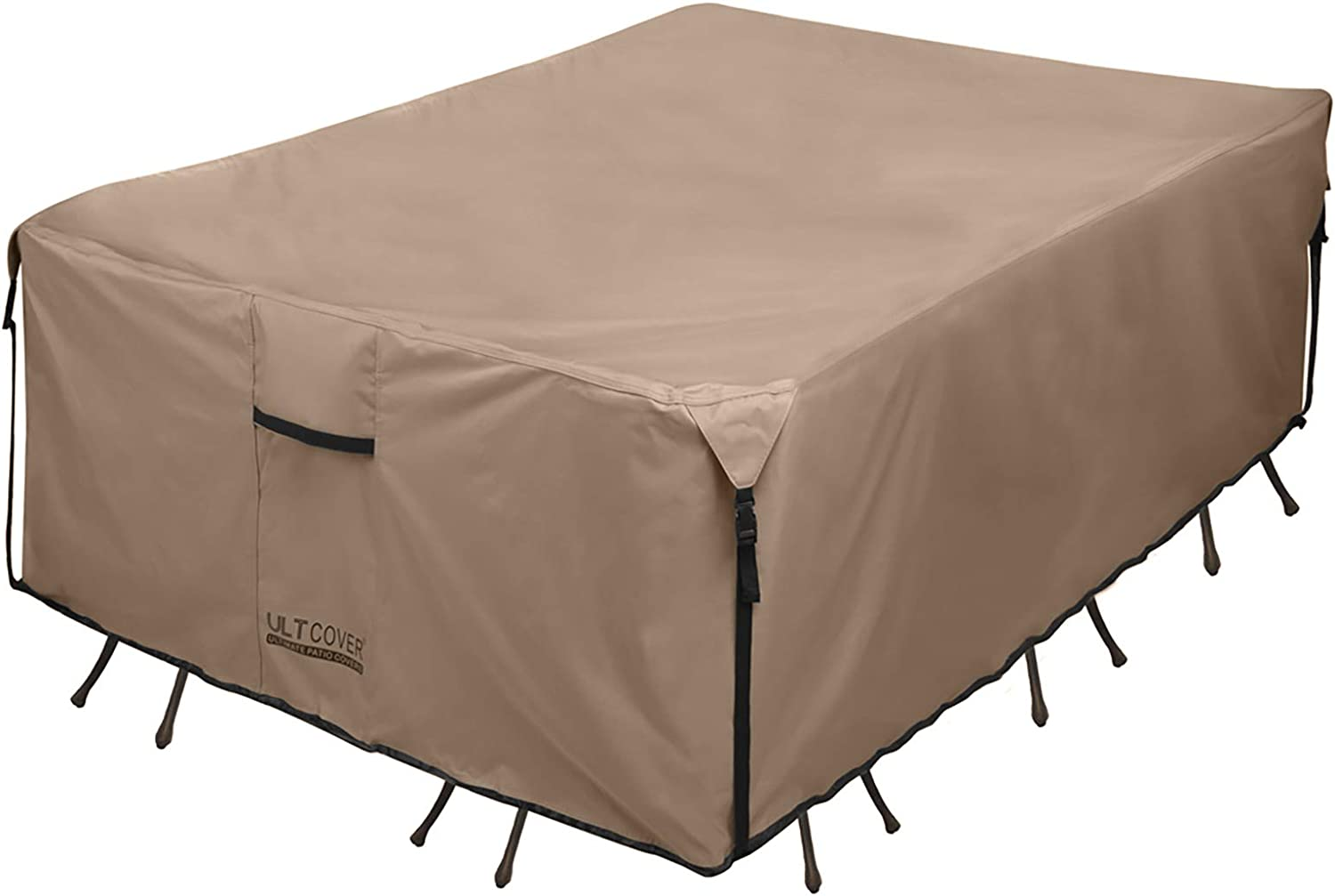 600D Tough Canvas Waterproof Outdoor Dining Table and Chairs General Purpose Furniture Cover Size 136L x 74W x 28H inch ULTCOVER Rectangular Patio Heavy Duty Table Cover