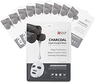 SNP - Charcoal Supercharged Purifying Korean Face Sheet Mask - 10 Sheet Pack