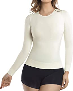 MD Womens Compression Slimming Shirts Undershirts Tummy Waist Bust Long Sleeves Round Neck