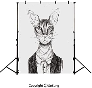10x15Ft Vinyl Quirky Decor Backdrop for Photography,Hipster Cat Dressed Up in Urban Style Portrait Sketch Vintage Anthropomorphic Decorative Background Newborn Baby Photoshoot Portrait Studio Props Bi