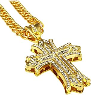 Mens Hip Hop 18k Gold Plated Silver Textured Pendant Necklace Cross Chain