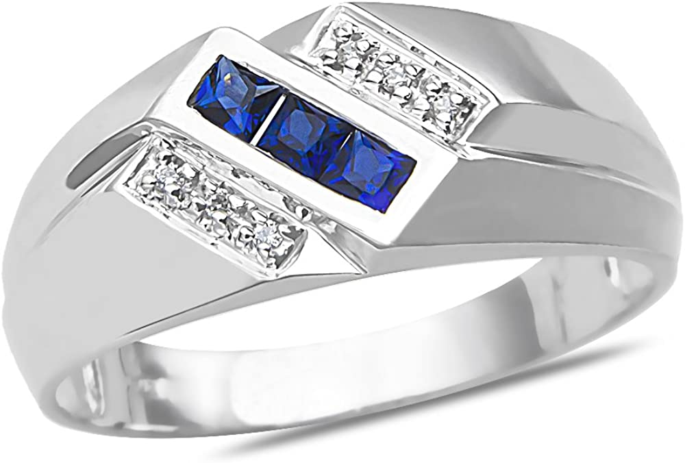 The Diamond Deal 10k SOLID White Gold Mens 3 Row Slant Round Shaped Diamond Accent And Lab Created Sapphire Gemstone Wedding Band Ring