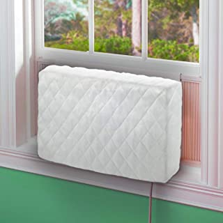 LBG Products Indoor Air Conditioner Cover for Window AC Units,White Double Insulation Windblock, Medium Size 25''L x 17''H x 4''D