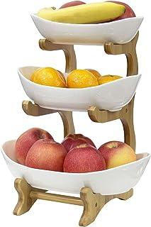 Corbeille à Fruits 3 Etages Porte-fruits en Céramique pour organiser la Cuisine, Les Fruits, Les Légumes Décoration de cui...