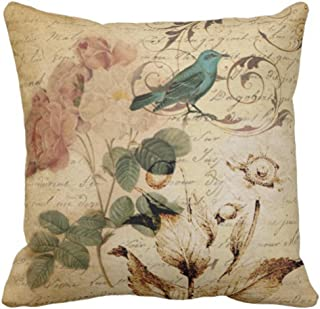 Emvency Throw Pillow Cover Victorian Bird Paris French Botanical Rose Decorative Pillow Case Floral Home Decor Square 18x18 Inch Cushion Pillowcase