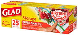 Glad Zipper Storage Bags - Quart Size, 25s