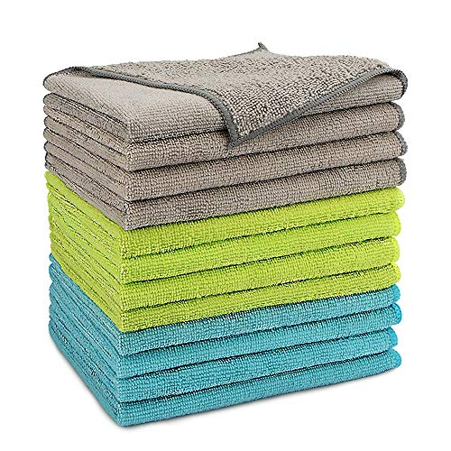 AIDEA Microfiber Cleaning Cloths-12PK, Softer Highly Absorbent, Lint Free Streak Free for House, Kitchen, Car, Window Gifts(12in.x16in.)