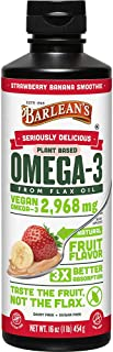 Barlean's Organic Oils Omega Swirl Flax Oil, Strawberry Banana, 16-Ounce Bottle