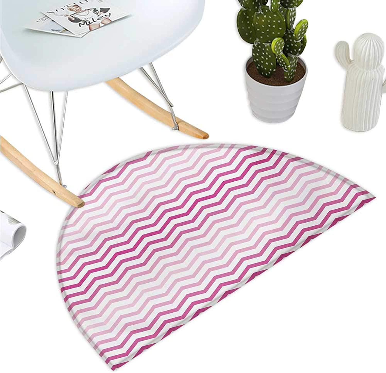 Pale Pink Half Round Door mats Chevron Zigzag Pattern with Twisted Parallel Lines in Vibrant Tones Graphic Bathroom Mat H 47.2  xD 70.8  Magenta White