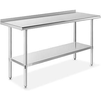 Fenix Sol Stainless Steel Commercial Kitchen Work Prep Table 4 Backsplash 24W x 60L x 36H