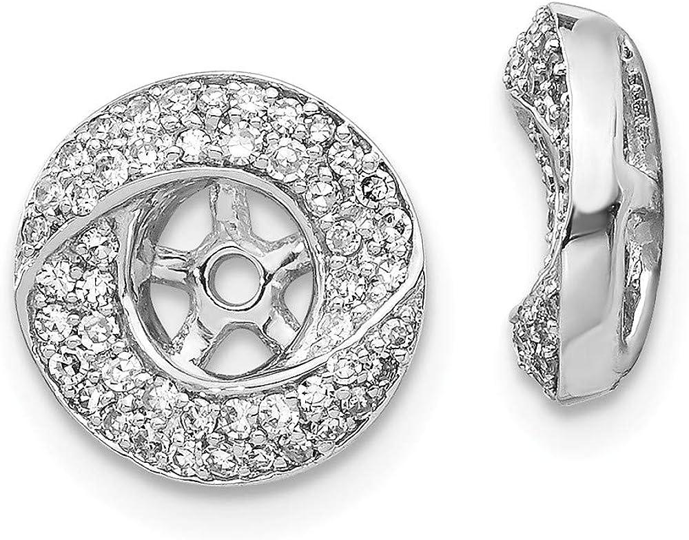 Affluent Rock 14K White Gold Diamond Round Earrings Jacket (0.43