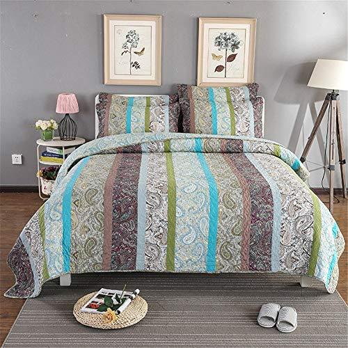3-delige gewatteerde Patchwork sprei Rood Groen Blauw Gestreepte Bloemen Patchwork 100% Katoen Quilt Gooi Trooster Bed set met 2 Pillowcase,Blue