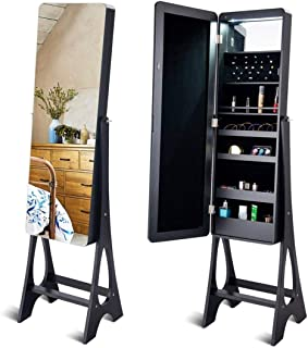 LED Jewelry Cabinet Standing Armoire Organizer w/Bevel Edge Full Size Mirror Home Furniture