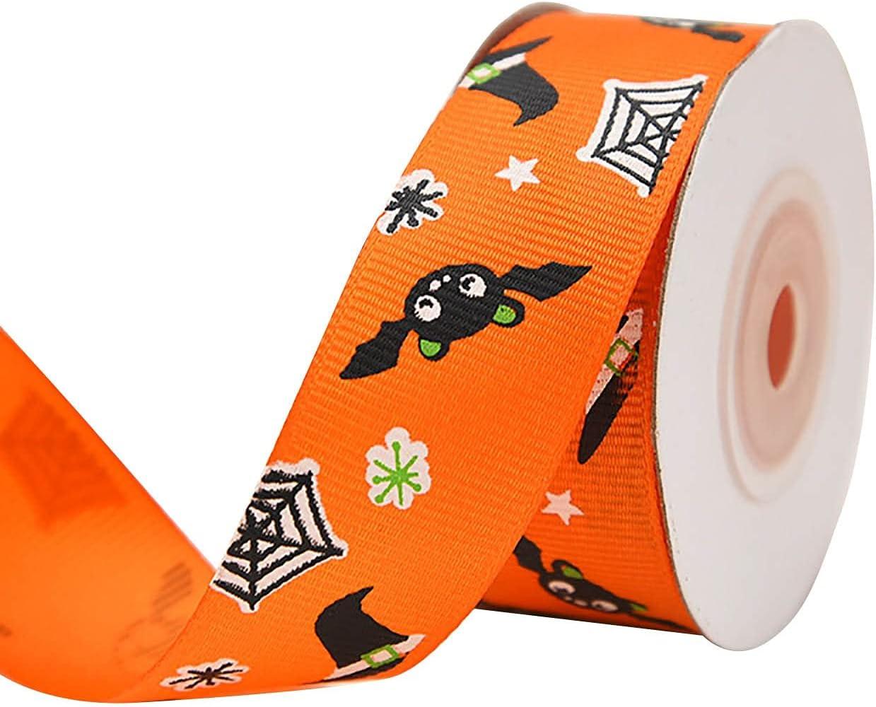 Kairaley Halloween Wired Edge 2021 Ribbons Skull Pumpk Bat Web Max 72% OFF Spider